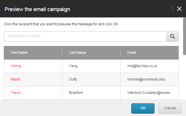 8 Preview the email campaign dialog box
